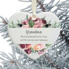 In Loving Memory Personalised Remembrance Christmas Tree Decoration - Pink Rose Floral Design